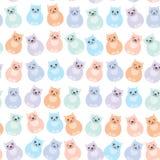 Vastgestelde zittings grappige vette katten, pastelkleuren op witte achtergrond Vector Royalty-vrije Stock Afbeelding