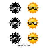 Vastgestelde Zonbescherming Zon met Zwart Zonnebrilpictogram Stock Afbeeldingen