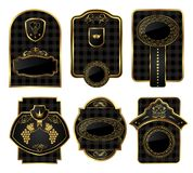 Vastgestelde zwart-gouden decoratieve frames Stock Fotografie