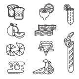 Vastgestelde zwart-wit lineaire voedselpictogrammen Stock Foto