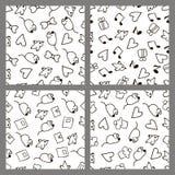 Vastgestelde zwart-wit patronen in de tekening van de stijlhand Royalty-vrije Stock Fotografie
