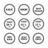 Vastgestelde zwarte etiketten en stickers Stock Foto's