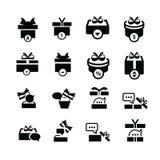 Vastgestelde zwarte gift en bellenbesprekingspictogrammen Stock Foto's