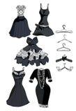 Vastgestelde zwarte kleding met wit kant Royalty-vrije Stock Afbeelding