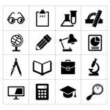 Vastgestelde zwarte pictogrammen van school en onderwijs Stock Fotografie