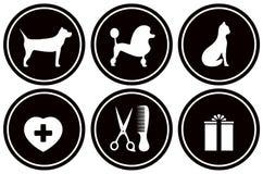 Vastgestelde zwarte pictogrammen voor huisdierenvoorwerpen Stock Fotografie