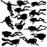 Vastgestelde zwarte silhouetscuba-duikers Vector illustratie Stock Foto