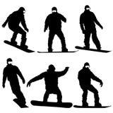 Vastgestelde zwarte silhouettensnowboarders op witte achtergrond Vector Royalty-vrije Stock Afbeelding