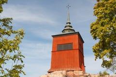 Vastra klockatorn i den historiska mitten av Nykoping Arkivbild