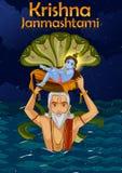 Vasudev che porta poco Krishna con Kaliya Naag su Janmashtami illustrazione vettoriale