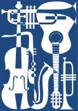 Vat blauwe muzikale instrumenten, vectorillustra samen Stock Afbeelding