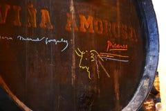 Vat door Picasso in de wijnmakerij die van Tio wordt ondertekend Pepe Royalty-vrije Stock Afbeeldingen