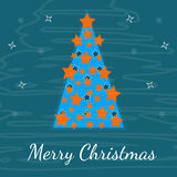 Vat een feestelijke Kerstboom, prentbriefkaar voor samen Stock Foto