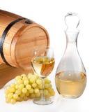 Vat en een glas wijn royalty-vrije stock foto's