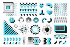 Vat geometrische vormen samen Moderne de lijnvormen van Memphis, hipster eigentijdse minimale de vlieger vectormeetkunde van de b royalty-vrije illustratie