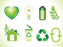 Vat glanzende groene geplaatste ecopictogrammen samen Stock Foto's