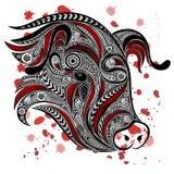 Vat het hoofd van het varken met bloed samen ploeteren Royalty-vrije Stock Foto