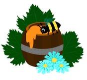 Vat honing met bij, madeliefjes en druivenbladeren stock illustratie