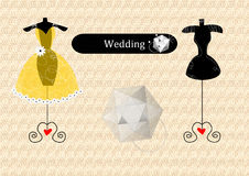 Vat huwelijkskleding samen Stock Foto