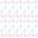Vat naadloos patroon samen. Grijze Leaves.Blue, roze, vector illustratie