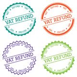 VAT refund badge isolated on white background. Flat style round label with text. Circular emblem vector illustration Stock Image