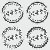 VAT refund insignia stamp isolated on white. VAT refund insignia stamp isolated on white background. Grunge round hipster seal with text, ink texture and Royalty Free Stock Image