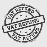 VAT refund rubber stamp isolated on white. VAT refund rubber stamp isolated on white background. Grunge round seal with text, ink texture and splatter and blots Royalty Free Stock Photography