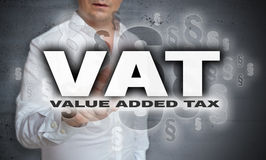 VAT is shown by man concept Royalty Free Stock Photography