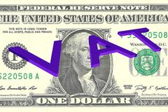 VAT - taxation concept. 3D illustration of VAT title on One Dollar bill as a background Stock Images