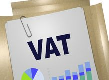 VAT - value added tax concept. 3D illustration of VAT title on business document Royalty Free Stock Images