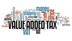 VAT Value Added Tax. Value added tax VAT - finance issues and concepts tag cloud illustration. Word cloud collage concept Royalty Free Stock Images