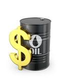 Vat van olie en dollarteken Royalty-vrije Stock Foto's
