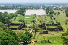 Vaten Phou är UNESCOvärldsarvet i Champasak, Souther arkivfoto