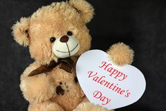Vatentines day toy teddy bear with heart frame royalty free stock images