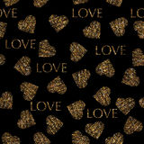 Vatentines day gold seamless pattern with stylish heart and text Royalty Free Stock Images