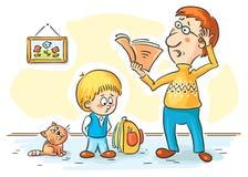 Vater überprüft Hausarbeit lizenzfreie abbildung
