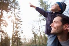 Vater-Carrying Son On-Schultern während des Landschafts-Wegs Lizenzfreie Stockfotografie