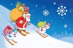 Vater Christmas trägt eine Tasche von Geschenken stock abbildung
