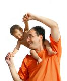 Vater, der mit Sohn spielt Lizenzfreie Stockbilder