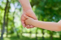 Vater hält die Hand eines kleinen Kindes im sonnigen Park, vereinigtes Familienkonzept im Freien stockfotografie