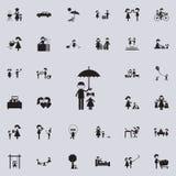Vater hält einen Regenschirm über seinem daughtericon Familienikonen-Universalsatz für Netz und Mobile stock abbildung