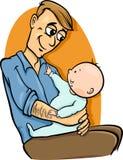 Vater mit Babykarikaturillustration Stockfotos
