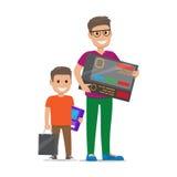 Vater mit Sohn-kaufender Elektronik flacher Vektor stock abbildung