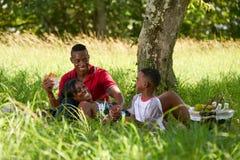 Vater-Mother Son Eating-Lebensmittel während des Picknicks an den Sommerferien stockfoto