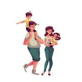 Vater, Mutter, Tochter und Sohn, glückliches Familienkonzept Stockfoto