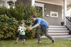 Vater-Playing Soccer In-Garten mit Sohn lizenzfreie stockfotos