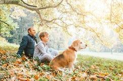 Vater, Sohn und Spürhund verfolgen das Sitzen im Herbstpark, warmer Inder s lizenzfreies stockbild