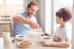 Vater-And Son In-Küche lizenzfreie stockfotografie