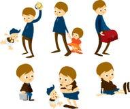 Vater u. Kinder lizenzfreie abbildung