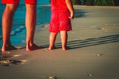 Vater und Baby, die auf Sandstrand gehen Stockfotografie